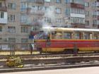 В Киеве загорелся переполненный трамвай. Фото