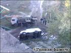 На Донбассе микроавтобус рухнул с моста. Фото