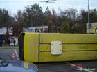 ДТП в Киеве. Маршрутка от удара улетела на другую улицу. И перевернулась. Фото