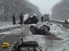 Неслабая авария на Полтавщине. Легковушку разорвало на части. 4 человека погибло. Фото