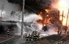 В Польше взорвался поезд с нефтепродуктами. Сгорели 20 цистерн. Фото