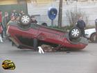 Винница. Водитель «Лады», чтобы не разбить машину лихача, перевернул свою. Фото