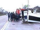 В Кировограде «Шевроле» умудрился перевернуть целый автобус. Есть жертвы. Фото