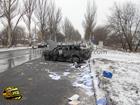 Донецк. Водитель зазевался и не заметил автобуса. Результат на лицо. Фото