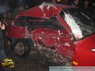 Огромная пробка и ком металла, издали напоминающий автомобиль, – результат аварии в Киеве. Фото