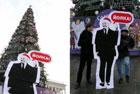 Янукович в красной шапке «поселился» под главной елкой страны. Фото