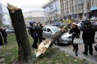 Киевский ураган владельцы пострадавших автомобилей будут вспоминать еще не один день. Фото