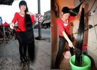 Хотите иметь шикарные и длинные волосы? Учитесь у китаянки, которая моет голову… пивом