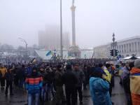 Утренняя сводка с Евромайдана: митингующих около 3 тысяч человек. Идет укрепление подтаявших баррикад