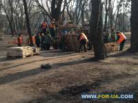 Киевляне вместе с коммунальщиками начали ремонт и уборку Мариинского парка