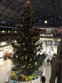 В Лондоне появилась огромная новогодняя елка, украшенная в желто-голубых тонах