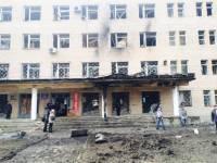 В Донецке снаряд попал в больницу. Фото с места событий