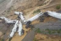 В результате жуткой железнодорожной аварии на земле оказались около 200 тысяч литров серной кислоты