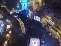 Празднование Нового года в Киеве с высоты птичьего полета