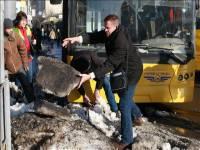 Застрявший в сугробе троллейбус организовал огромную пробку в Киеве