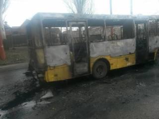 В Мариуполе дотла сгорела маршрутка