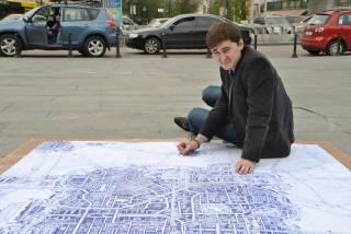 Киевлянин на 4,5 квадратных метрах нарисовал шариковой ручкой город мечты