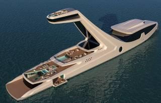 Итальянский дизайнер спроектировал яхту с одной из палуб размером с девятиэтажный дом