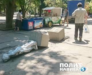 В Севастополе кто-то обрушил памятник Володе Ульянову. И напоследок обвел мелом «труп»