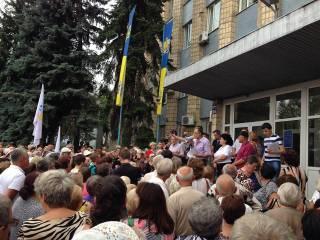 В украинской Дружковке около полутысячи жителей вышли на митинг за воду