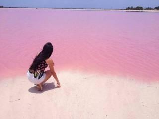 В мексиканской деревушке раскинулась уникальная натуральная розовая лагуна