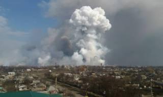 Пожар в Балаклее сняли с высоты птичьего полета