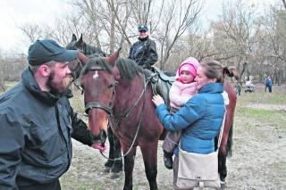 В Киеве полицейская лошадь на полном ходу снесла женщину, которая гуляла с дочкой