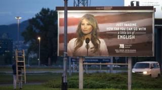 В Хорватии появились бигборды с первой леди США, рекламирующей курсы английского. Правда, совсем ненадолго