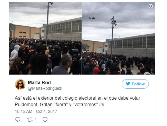 Сторонники независимости Каталонии всю ночь провели наизбирательных участках