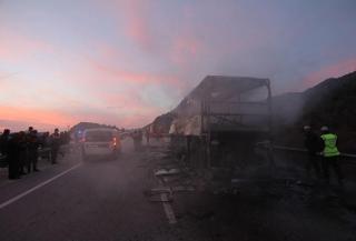 В Турции сгорел пассажирский автобус с людьми