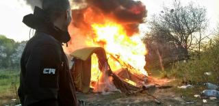Появилось видео погрома цыган на Лысой горе: камни, газ и крики и помощи