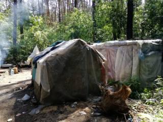 С топорами и молотами. Националисты снесли цыганский лагерь в Голосеевском парке