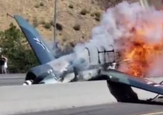В Калифорнии «самолет Люфтваффе» рухнул на оживленное шоссе