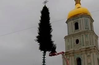 В Киеве начали устанавливать главную елку Украины