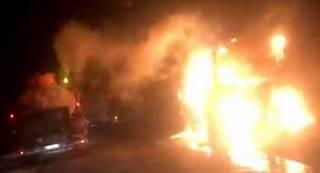 На Волыни сгорел автобус, следовавший в Польшу