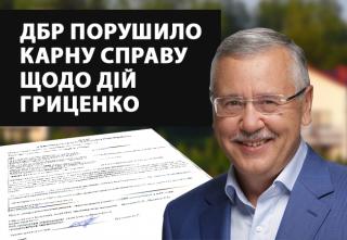 ГБР возбудило уголовное дело в отношении действий Гриценко