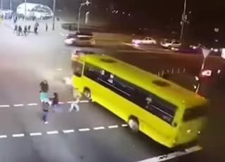 В Киеве маршрутка сбила трех женщин: появилось видео момента ДТП (18+)