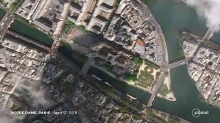Так теперь выглядит сгоревший собор Парижской Богоматери из космоса