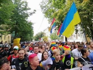 По улицам Киева прошлись тысячи ЛГБТшников. Не обошлось без «накладок»
