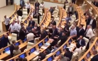 В парламенте Грузии массово подрались депутаты. Разнимать их пришлось приставам