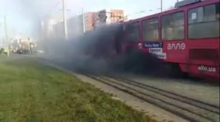 Во Львове прямо на ходу загорелся трамвай с пассажирами