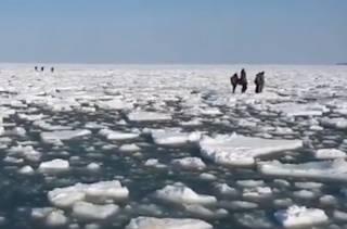 В России сотни рыбаков «уплыли» в море на льдине