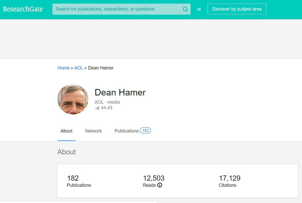 Дин Хамер на сайте ResearchGate