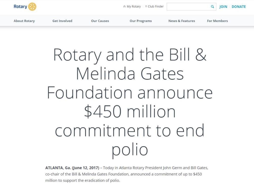 Ротари Интернешнл и Билл Гейтс, сотрудничество