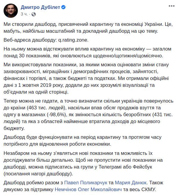 Пост Дмитрия Дубилета в Facebook