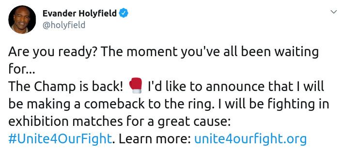 Скриншот сообщения Эвандера Холифилда о возвращении в ринг на его странице в Twitter