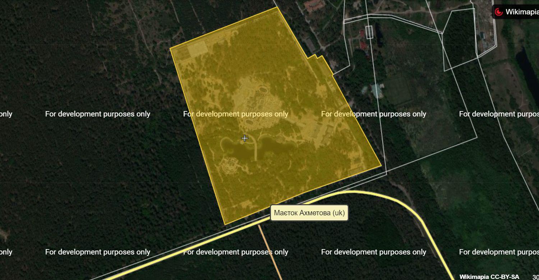 План земельного участка резиденции Рината Ахметова под Киевом