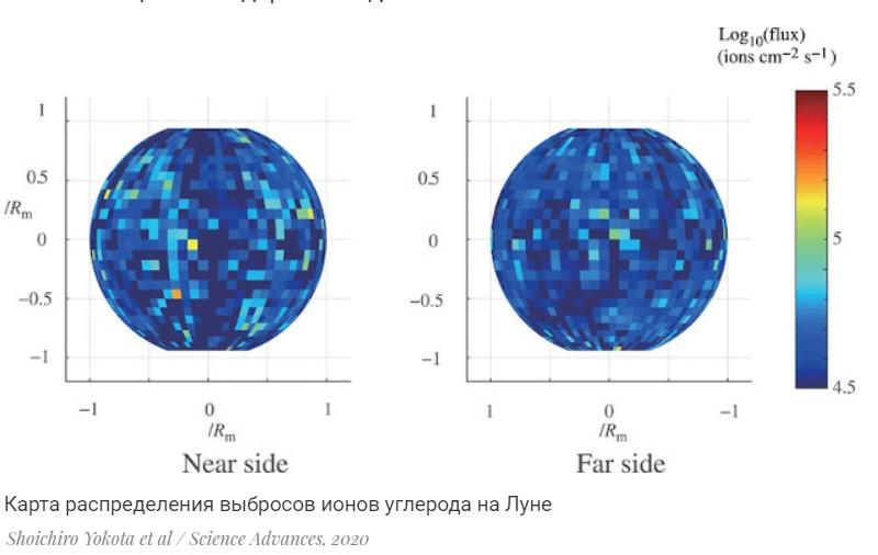 Карта распределения выбросов ионов углерода на Луне