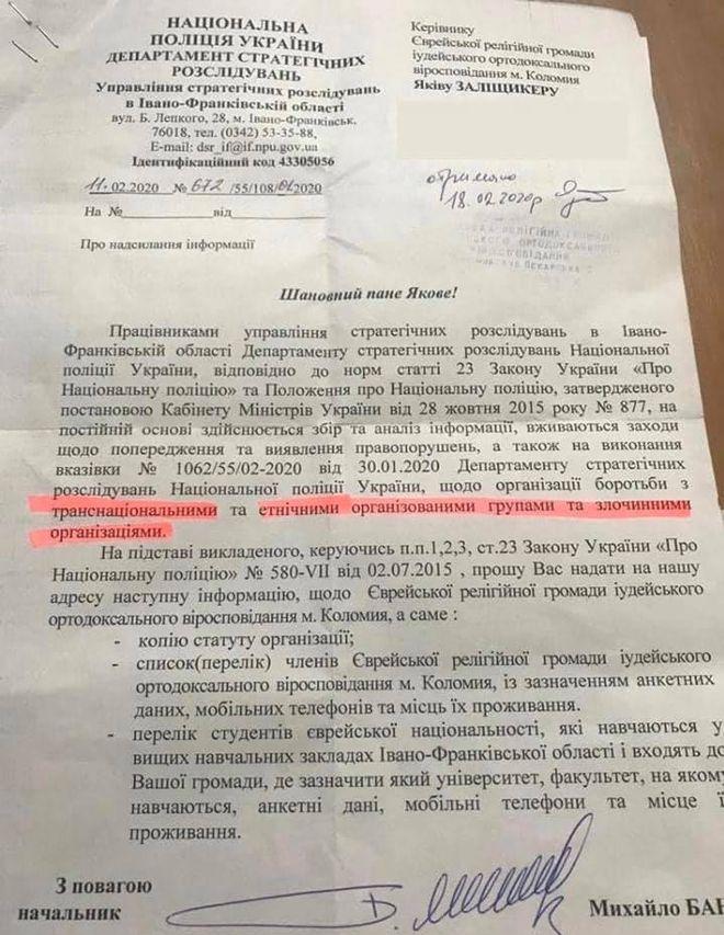 Полиция запросила список евреев у главы общины Коломыи