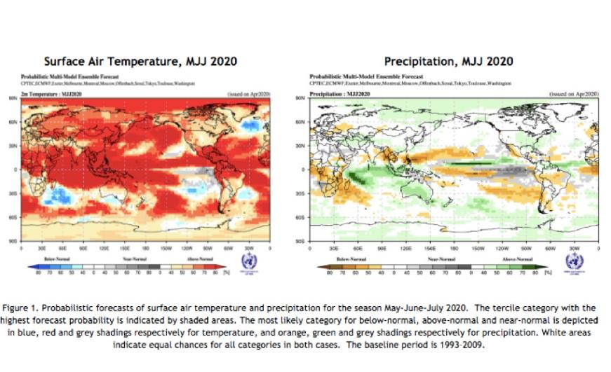 Прогнозы температуры приземного воздуха и осадков на май июнь июль 2020 года